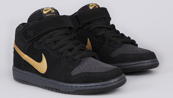 5111271d284f Nike SB Dunk Mid Pro Black Met. Gold - PACIFIC DRIVE SKATEBOARD SHOP